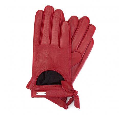 Женские кожаные перчатки с вырезом, красный, 46-6-302-1-S, Фотография 1