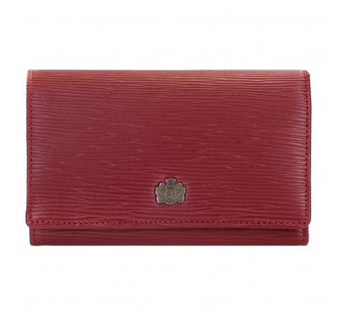 Женский кожаный кошелек с фактурной структурой, красный, 03-1-081-1, Фотография 1