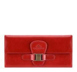Женский кожаный кошелек с элегантной застежкой, красный, 21-1-336-3, Фотография 1