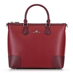 Кожаный саквояж с декоративные заплатками другого цвета, красный, 90-4E-610-3, Фотография 1