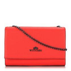 Женская кожаная сумка через плечо на тонкой цепочке, красный, 89-4-551-3, Фотография 1