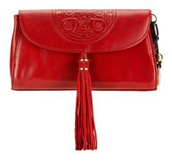 Женская кожаная сумка через плечо с мандалой и подвеской-кисточкой, красный, 04-4-069-3, Фотография 1