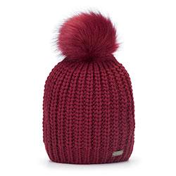 Женская плетеная шапка с помпоном, красный, 93-HF-002-F, Фотография 1