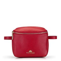 Женская прямоугольная кожаная сумка на пояс, красный, 92-4E-655-3, Фотография 1