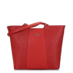 Женская сумка-шоппер с тиснением, красный, 91-4Y-624-3, Фотография 1