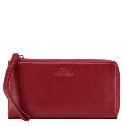 Большой женский кожаный кошелек с ремешком, красный, 21-1-444-3, Фотография 1