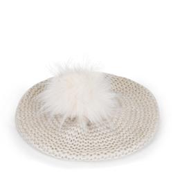 Női barett sapka kötött pomponnal, krém, 91-HF-013-0, Fénykép 1