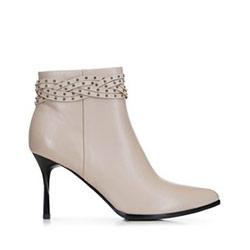 Dámské kožené kotníkové boty, krémová, 91-D-960-9-36, Obrázek 1