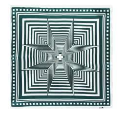 Hedvábný šátek, krémově zelená, 93-7D-S01-17, Obrázek 1