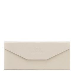 Складной кожаный футляр для очков, кремовый, 14-2-196-B, Фотография 1