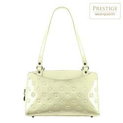 Кожаная сумка-шоппер из лакированной кожи с карманами, кремовый, 34-4-599-K, Фотография 1