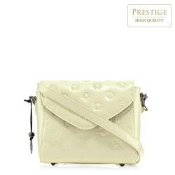Женская сумка через плечо из лакированной кожи с тиснением, кремовый, 34-4-601-K, Фотография 1