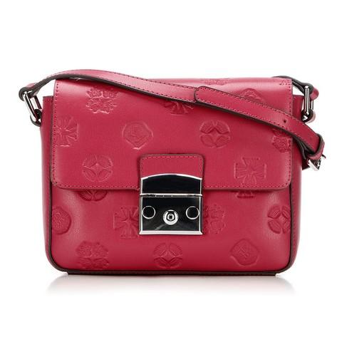 Кожаная сумка с клапаном с монограммой, малиновый, 92-4E-693-Y, Фотография 1