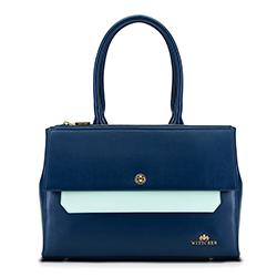 Einkaufstasche, marineblau - mintgrün, 90-4E-357-7, Bild 1