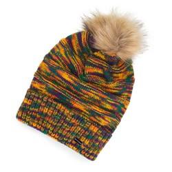 Женская шапка с помпоном, многоцветный, 91-HF-007-ZY, Фотография 1