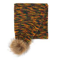 Женский разноцветный шарф с помпонами, многоцветный, 91-7F-002-ZY, Фотография 1