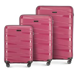 Bőröndszett polipropilén geometriai bordázással, néma rózsaszín, 56-3T-79S-35, Fénykép 1