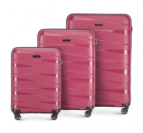 Bőröndszett polipropilén geometriai bordázással, néma rózsaszín, 56-3T-79S-00, Fénykép 1