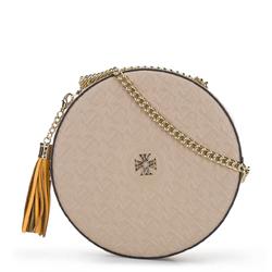 Круглая кожаная сумка через плечо - лимитированная серия, nude, 92-4E-662-9, Фотография 1