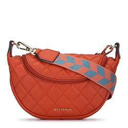 Gesteppte Lederhandtasche mit Sackleinengurt, orange, 93-4E-621-6, Bild 1