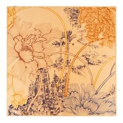 Шелковый шарф средний, оранжево-фиолетовый, 93-7D-S39-10, Фотография 1