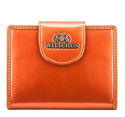 Женский кошелек из лакированной кожи с кнопкой, оранжевый, 25-1-362-6, Фотография 1