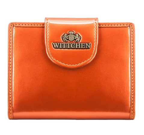 Женский кошелек из лакированной кожи с кнопкой, оранжевый, 25-1-362-3, Фотография 1
