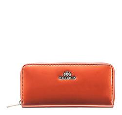 Женский лакированный кошелек на молнии, оранжевый, 25-1-393-6, Фотография 1