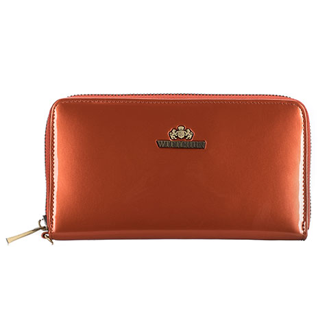 Женский кожаный лакированный кошелек на молнии, оранжевый, 25-1-485-N, Фотография 1