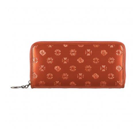 Женский лакированный кожаный кошелек с тиснением, оранжевый, 34-1-393-1S, Фотография 1