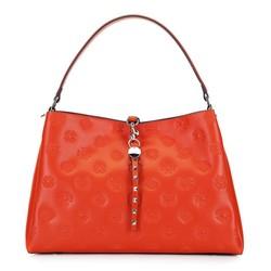 Кожаная сумка-шоппер с ремешком с заклепками, оранжевый, 92-4E-690-6, Фотография 1