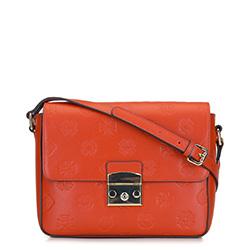 Женская кожаная сумка через плечо с монограммой, оранжевый, 92-4E-692-6, Фотография 1