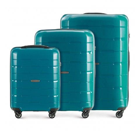 Bőröndszettek, pávakék, 56-3T-72S-77, Fénykép 1