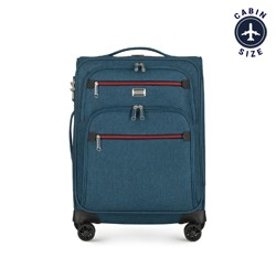 Bőrönd színes cipzárral, pávakék, 56-3S-501-91, Fénykép 1