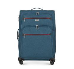 Közepes bőrönd színes cipzárral, pávakék, 56-3S-502-91, Fénykép 1