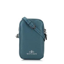 Mini táska bőrből szegecsekkel, pávakék, 92-2E-313-7, Fénykép 1