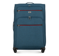 Nagy bőrönd színes cipzárral, pávakék, 56-3S-503-91, Fénykép 1