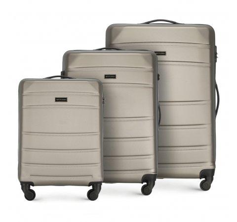 ABS Bőröndkészlet, pezsgő, 56-3A-65S-35, Fénykép 1