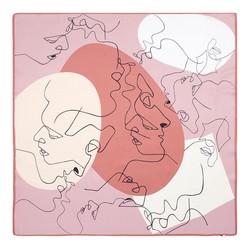 Közepes  méretű selyemsál, pink-bézs, 93-7D-S39-5, Fénykép 1