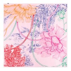 Közepes  méretű selyemsál, pink-kék, 93-7D-S39-8, Fénykép 1