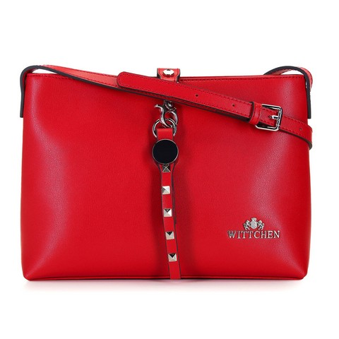 Női bőrlevéltáska szegecsekkel, piros, 92-4E-608-30, Fénykép 1
