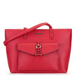 Shoppertáska  bőrből gyűrükkel, piros, 92-4Y-240-3, Fénykép 1