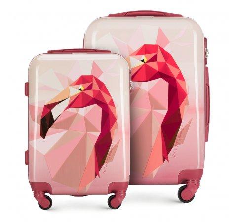 Kleiner und mittlerer Koffer mit Flamingo-Motiv