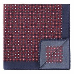 GEMUSTERTES EINSTECKTUCH AUS SEIDE, rot-dunkelblau, 92-7P-001-X1, Bild 1