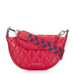Gesteppte Lederhandtasche mit Sackleinengurt, rot, 93-4E-621-3, Bild 1