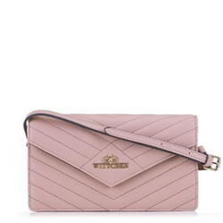 Женская сумка через плечо с треугольным клапаном, розовый, 89-4-254-P, Фотография 1