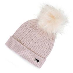 Женская шапка из вискозы с помпоном, розовый пудровый, 91-HF-004-P, Фотография 1