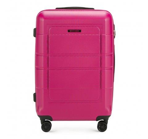 Средний чемодан с геометрическими прорезями, розовый, 56-3H-542-9R, Фотография 1