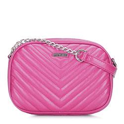 Женская сумка через плечо с диагональной прострочкой, розовый, 92-4Y-573-P, Фотография 1