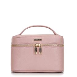 Маленькая женская косметичка-саквояж, розовый, 92-3-107-P, Фотография 1